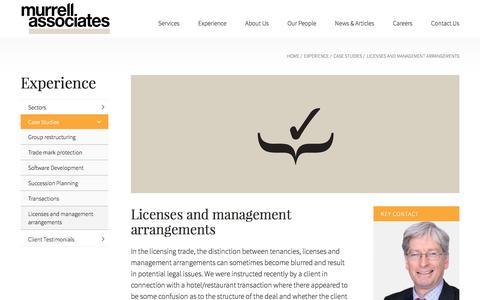 Screenshot of Case Studies Page murrellassociates.co.uk - Licenses and management arrangements | Murrell Associates - captured Dec. 19, 2016