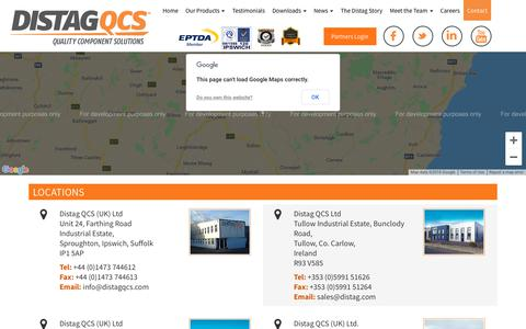 Screenshot of Locations Page distag.com - Contact distag Distag - Quality Component Solutions - captured Dec. 19, 2018