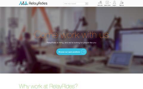 Screenshot of Jobs Page relayrides.com - Jobs at RelayRides - captured Sept. 17, 2014