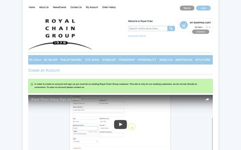 Screenshot of Signup Page royalchain.com - Create New Customer Account - captured Dec. 20, 2016