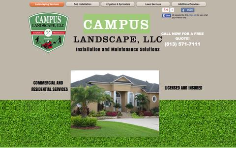 Screenshot of Home Page campuslandscape.com - Campus Landscape - Sod & Landscaping - Installation & Maintenance Pros - captured Sept. 27, 2014