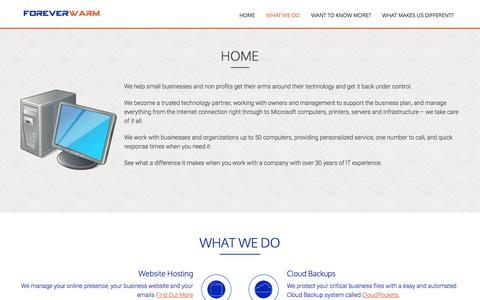 Screenshot of Home Page foreverwarm.com captured Feb. 10, 2016