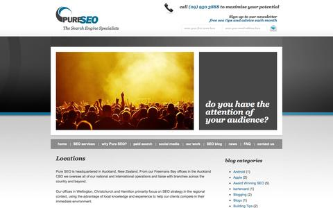 Screenshot of Locations Page pureseo.co.nz - Local SEO Services | Locations SEO Experts | PureSEO NZ - captured Sept. 24, 2014