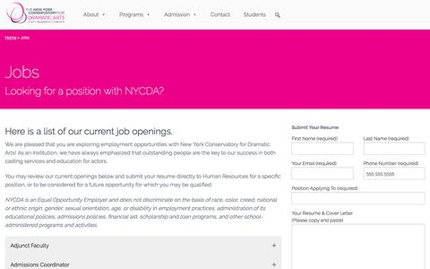 Screenshot of Jobs Page nycda.edu - Jobs | The New York Conservatory for Dramatic Arts Acting School and College - captured Sept. 4, 2016