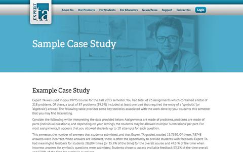 Screenshot of Case Studies Page theexpertta.com - The Expert TA   –  Sample Case Study - captured Sept. 20, 2018