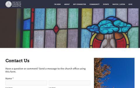 Screenshot of Contact Page mariettafbc.org - Contact — First Baptist Church Marietta - captured Oct. 2, 2018