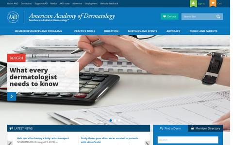 Screenshot of Home Page aad.org - American Academy of Dermatology | American Academy of Dermatology - captured Sept. 6, 2016