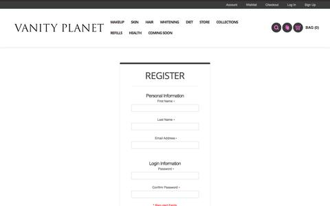 Screenshot of Signup Page vanityplanet.com - Create New Customer Account - captured Oct. 26, 2014