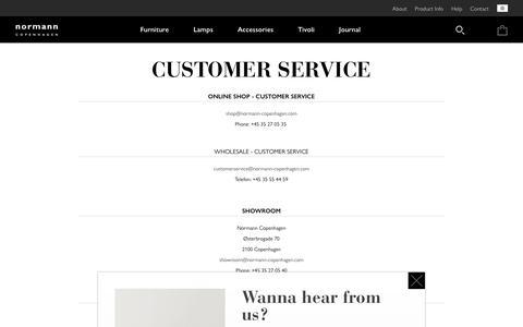 Screenshot of Support Page normann-copenhagen.com - Customer Service - captured Oct. 19, 2018