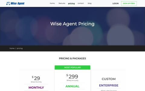 Screenshot of Pricing Page wiseagent.com - Wise Agent Pricing - captured Oct. 20, 2018