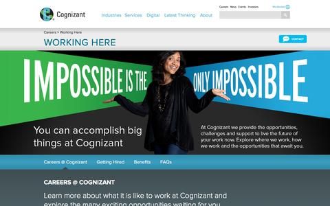 Screenshot of FAQ Page cognizant.com - Working at Cognizant - Global Careers with Cognizant, IT Career Benefits - captured Nov. 14, 2015