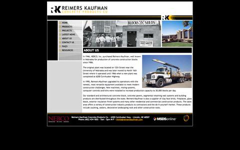 Screenshot of About Page reimerskaufman.com - About Us / Reimers-Kaufman / NEBCO - Reimers-Kaufman - captured Oct. 26, 2014