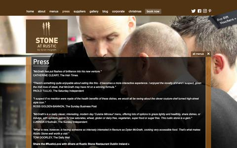 Screenshot of Press Page rusticstone.ie - Rustic Stone Restaurant by Dylan McGrath - press - captured Oct. 20, 2018