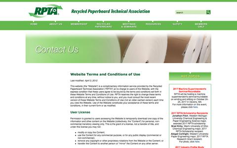 Screenshot of Terms Page rpta.org - Recycled Paperboard Technical Association (RPTA): Contact Us - Website Terms and Conditions of Use - captured Oct. 24, 2017