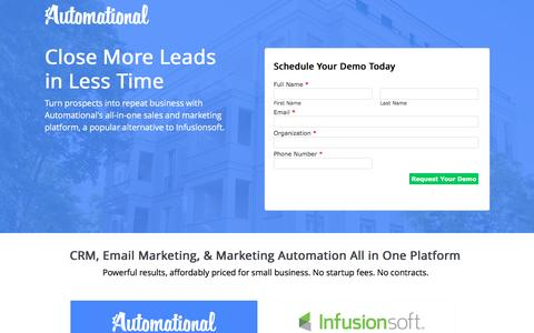 Screenshot of Landing Page automational.com - Automational vs Infusionsoft | Automational CRM & Marketing Automation - captured Oct. 22, 2016