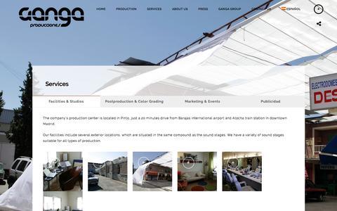 Screenshot of Services Page grupoganga.com - Services - Grupo Ganga Producciones - captured Nov. 17, 2016
