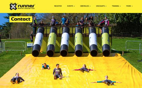 Screenshot of Contact Page xrunner.co.uk - XRunner | The ultimate obstacle course race | 5k and 10k Trail Runs | Contact - captured July 26, 2018
