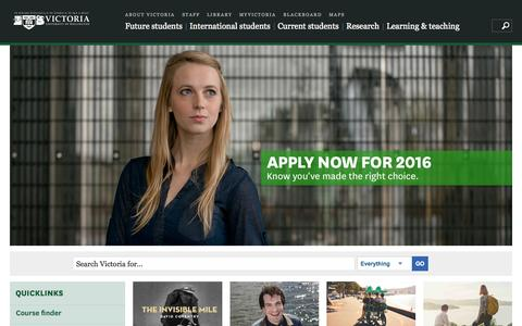Screenshot of Home Page victoria.ac.nz - Home | Victoria University of Wellington - captured Oct. 8, 2015