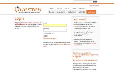 Screenshot of Support Page questek.com.au - Questek - captured Oct. 27, 2014