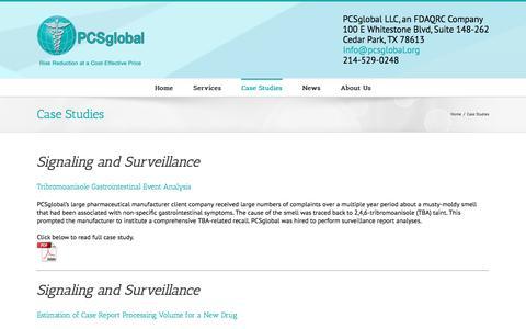 Screenshot of Case Studies Page pcsglobal.org - Case Studies - PCSglobal - Pharmaceutical Consulting Services - captured July 9, 2016