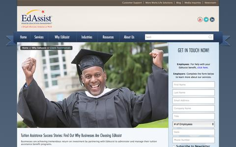 Screenshot of Case Studies Page edassist.com - Tuition Assistance Success Stories | EdAssist - captured Oct. 24, 2016