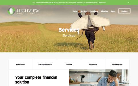 Screenshot of Services Page highview.com.au - Services - Highview Accounting & Financial - captured Aug. 14, 2017