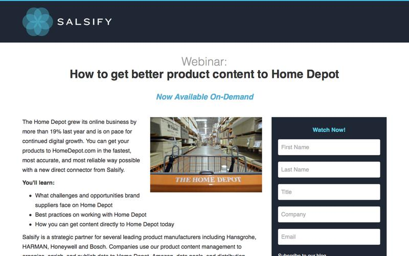 Webinar - How to get better product content to Home Depot