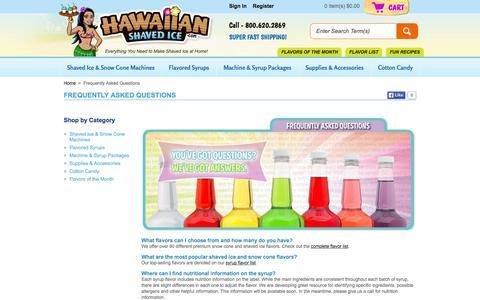 Screenshot of hawaiianshavedice.com - Frequently Asked Questions - Customer Care - captured Oct. 2, 2015