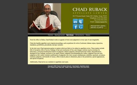 Screenshot of Services Page appeal.pro - Services of Dallas Appeals Attorney, Chad Ruback - captured Oct. 2, 2014
