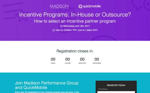 Screenshot of Landing Page quickmobile.com - Incentive Programs: In-House or Outsource? - captured April 27, 2017