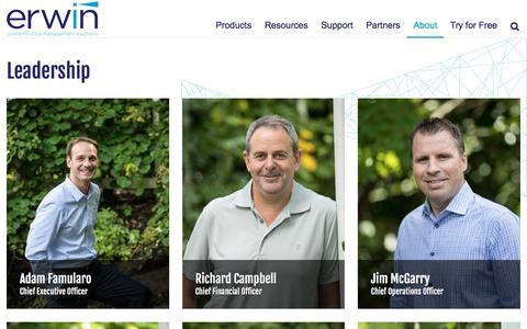 Screenshot of Team Page erwin.com - Leadership - erwin, Inc. - captured May 15, 2017