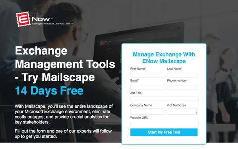 Screenshot of Trial Page enowsoftware.com - Exchange Management Tools, Exchange Reporting, Monitoring | ENow Mailscape - captured Sept. 7, 2017