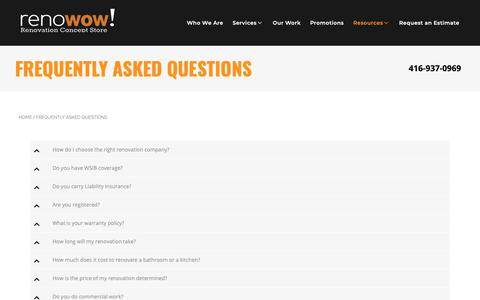 Screenshot of FAQ Page renowow.ca - Answers To Frequently Asked Questions | renoWOW! - captured Oct. 20, 2018