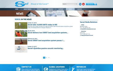 Screenshot of Press Page sercel.com - News - Sercel - captured Dec. 3, 2016