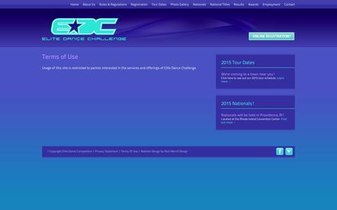 Screenshot of Terms Page elitedancechallenge.net - Elite Dance Challenge Terms of Use - captured Sept. 29, 2014