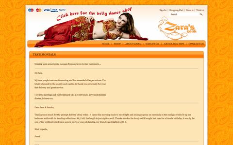 Screenshot of Testimonials Page zaraszouk.co.uk - Testimonials : Zara's Zouk - Belly Dancing Supplies Shop - captured Nov. 4, 2014