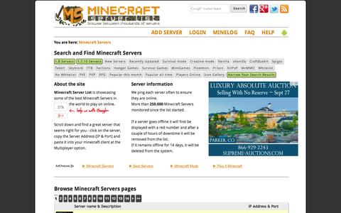 Screenshot of Home Page minecraft-server-list.com - Minecraft Servers - Minecraft Server List - captured Sept. 18, 2014