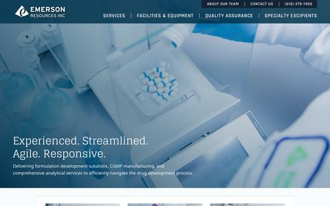 Screenshot of Home Page emersonresources.com - Emerson Resources - Drug Product Development for early stage clinical trials. - captured July 18, 2018