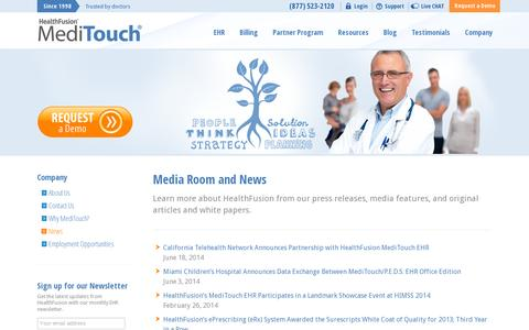Screenshot of Press Page healthfusion.com - Media Room | Learn More About HealthFusion! - captured July 19, 2014