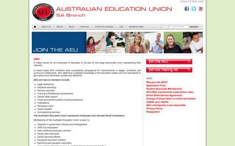 Screenshot of Signup Page aeusa.asn.au - Australian Education Union (SA Branch) | Join - captured Oct. 4, 2014