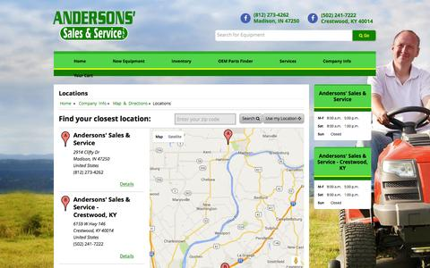 Screenshot of Locations Page andersonssales.com - Locations Andersons' Sales & Service - Crestwood, KY Crestwood, KY (502) 241-7222 - captured Feb. 6, 2016