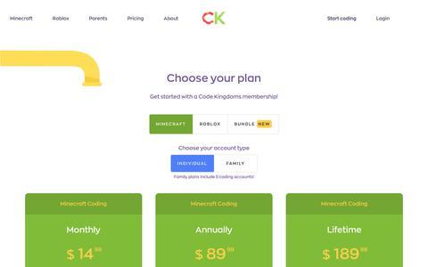 Screenshot of Pricing Page codekingdoms.com - Plans - captured July 19, 2018
