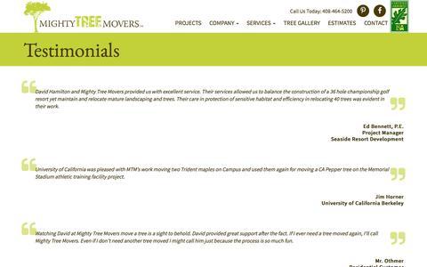 Screenshot of Testimonials Page mightytreemovers.com - Mighty Tree Movers: Testimonials - captured Dec. 2, 2016
