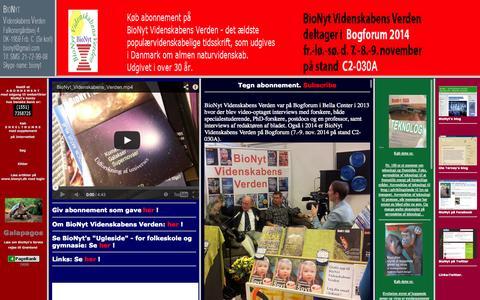 Screenshot of Home Page bionyt.dk - BioNyt Videnskabens Verden.  Årsabonnement 485 kr, institutioner 585 kr. (studerende 385 kr; pensionister 375 kr),  Danske Bank REG.1551 KONTO 7358725, Tlf. 21729908. Tidskr. for ny forskning - med hovedvægt på livsvidenskaberne. - captured Oct. 5, 2014