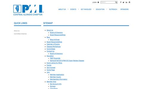 Screenshot of Site Map Page pmi-cic.org - PMI Central Illinois Chapter - Sitemap - captured Sept. 26, 2018