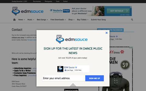 Screenshot of Contact Page edmsauce.com - Contact EDM Sauce - captured Nov. 1, 2015