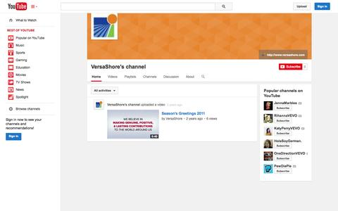Screenshot of YouTube Page youtube.com - VersaShore's channel  - YouTube - captured Nov. 3, 2014