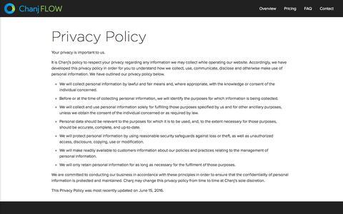 Screenshot of Privacy Page chanj.com - Chanj FLOW - Bar & Liquor Inventory App - captured Sept. 25, 2018