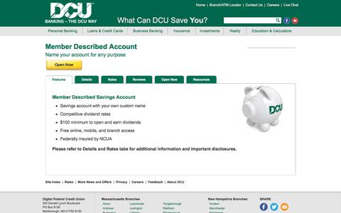 Member Described Savings Account | DCU | Massachusetts | New Hampshire