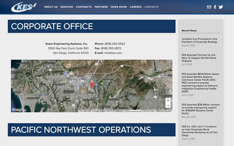 Screenshot of Contact Page kes.com - Contacts — KES, Inc. - An Employee Owned Company - captured Feb. 12, 2016